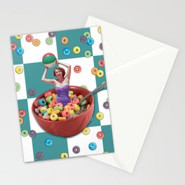 Cereal Bathing Beauty Pattern (blue) Stationery Cards