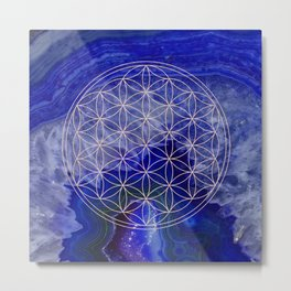 indigo agate with rose gold flower of life Metal Print