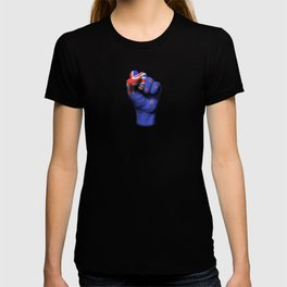 New Zealand Flag on a Raised Clenched Fist T-shirt