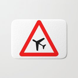 Low Flying Aircraft Traffic Sign Isolated Bath Mat