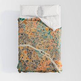 Paris mosaic map #2 Duvet Cover