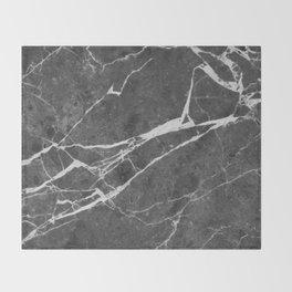 Matte Black Marble Throw Blanket