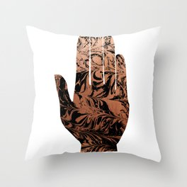 Spilled ink abstract hamsa hand copper japanese suminagashi painting Throw Pillow