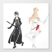 sword art online Canvas Prints featuring Sword Art Online- Until the End by Paula Urruti
