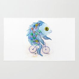 fish on a bicycle Rug