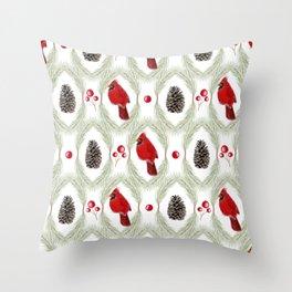 Cardinals Damask - White Throw Pillow