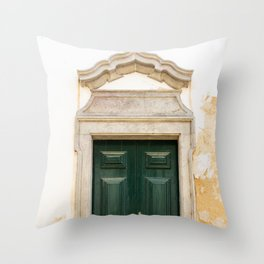 Old door in Tavira, Portugal Throw Pillow