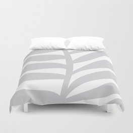 Palm Frond in Gray Duvet Cover