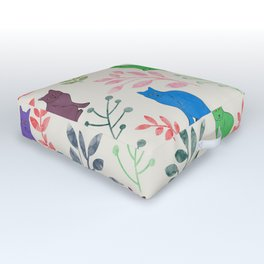 Watercolor Floral and Cat IX Outdoor Floor Cushion