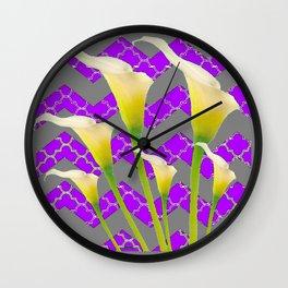 Grey & Purple Calla Lilies Art Wall Clock