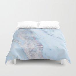 Light Blue Gray Marble Duvet Cover