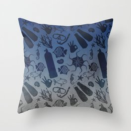 Scuba Dive Underwater Pattern Throw Pillow