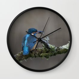 Kingfisher with Fish on a branch Wall Clock