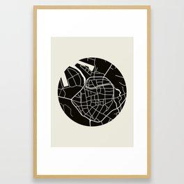 Wismar Karte Rund Framed Art Print