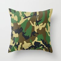 military Throw Pillows featuring Military - Camouflage by Three of the Possessed