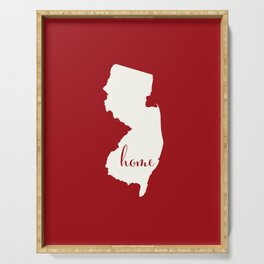 New Jersey is Home - White on Red Serving Tray