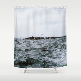 Wild ocean next to Lanzarote, Spain Shower Curtain
