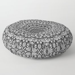 Gray colors mandala Sophisticated black and white ornament Floor Pillow