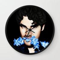 darren criss Wall Clocks featuring Darren Criss by weepingwillow