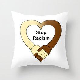 Stop racism theme handshake Throw Pillow