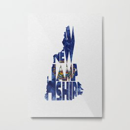 New Hampshire Typographic Flag Map Art Metal Print