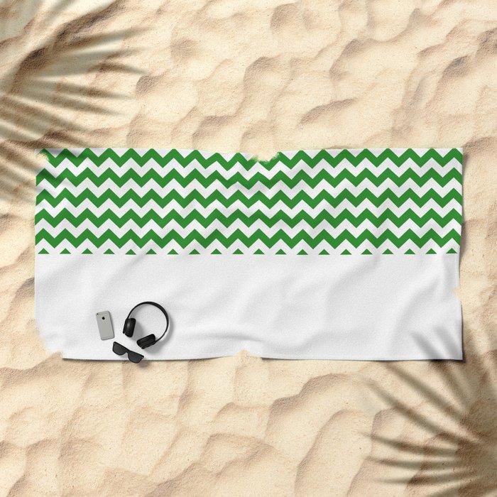 Chevron (Forest Green/White) Beach Towel