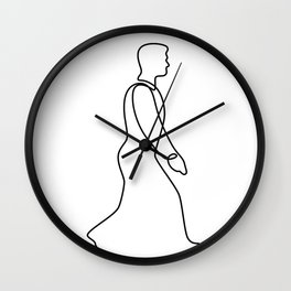 Businessman Walking Continuous Line Wall Clock
