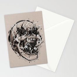 skull with demons struggling to escape Stationery Cards