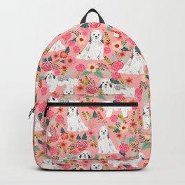 Havanese Floral - dog, dogs, cute dog, white dog, flowers, florals, pink floral Backpack