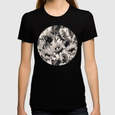 Sunflowers in Soft Sepia SMALL Black Womens Fitted Tee