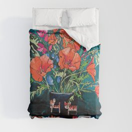 California Poppy and Wildflower Bouquet on Emerald with Tigers Still Life Painting Comforters