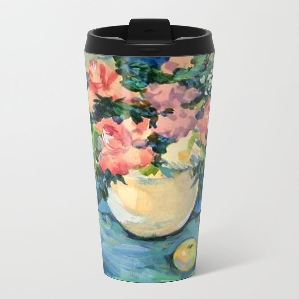 Bouquet. Still-life With Roses. Metal Travel Mug by Norroendyrd MTM7882168