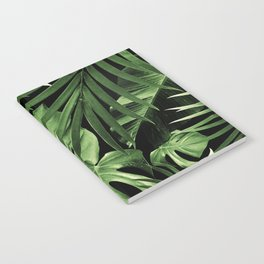Tropical Jungle Night Leaves Pattern #5 #tropical #decor #art #society6 Notebook