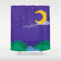 pixel Shower Curtains featuring PIXEL by jajoão