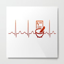 PHARMACIST HEARTBEAT Metal Print