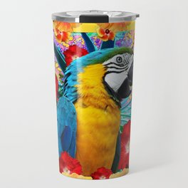 Caribbean Blue Macaw Parrot Hibiscus Flowers Travel Mug