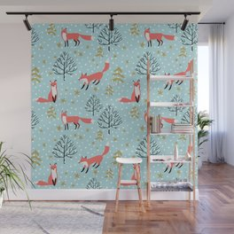 Red foxes in the blue winter forest with snow Wall Mural