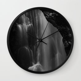 Black and white waterfall long exposure Wall Clock