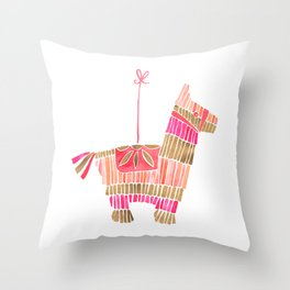 Mexican Donkey Piñata – Pink & Rose Gold Palette Throw Pillow