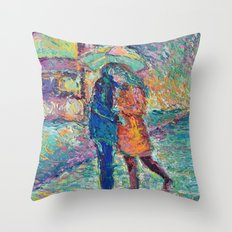 Lovers in Rainy London - romantic city landscape for Valentines day by Adriana Dziuba Throw Pillow