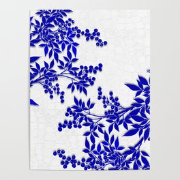 BLUE AND WHITE  TOILE LEAF Poster