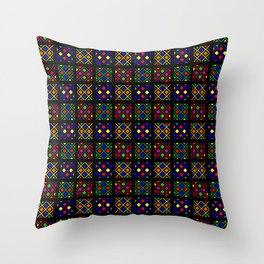 Kente Cloth Ankara Stained Glass Pattern Throw Pillow