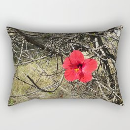 Being Alive - Red Hibiscus Flower Rectangular Pillow
