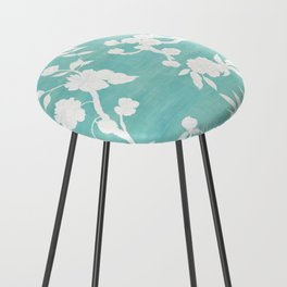 Chinoiserie Panels 3-4 White Scene on Teal Raw Silk - Casart Scenoiserie Collection Counter Stool