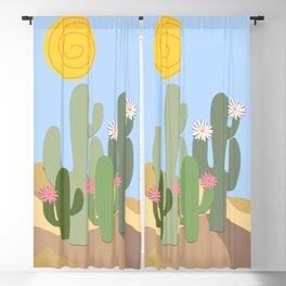 Minimal desert with flowering cacti Blackout Curtain