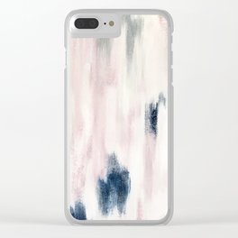 Blush Pink and Blue Pretty Abstract Clear iPhone Case