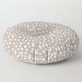 White on Dark Taupe spots Floor Pillow