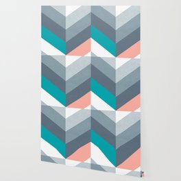Vertical Chevron Pattern - Teal, Coral and Dusty Blues #geometry #minimalart #society6 Wallpaper