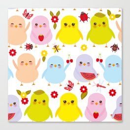 Kawaii colorful blue green orange pink yellow chick Canvas Print