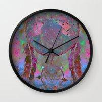 dreamcatcher Wall Clocks featuring Dreamcatcher by Starstuff